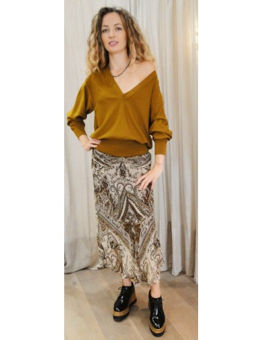 Laurence Bras Skirt TUNE viscose brown print