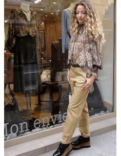 Laurence Bras pantalon droit STATUETTE coton beige