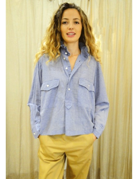Laurence Bras Oversize loose shirt CHEMINEE cotton Sky