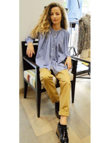 Laurence Bras Shirt CIGAR cotton loose SKY (chambray)
