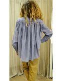 Laurence Bras shirt CIGAR cotton plissée chambray