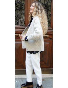 Laurence Bras Veste gilet MILAN oversize coton craie