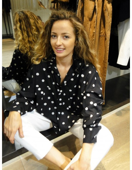 Laurence Bras Oversize loose shirt CHEMINEE cotton noire