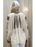 Laurence Bras shirt SHAHI ecru & rust embroidered