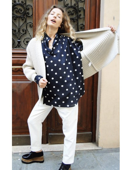 Laurence Bras Oversize loose shirt JUUL cotton noire