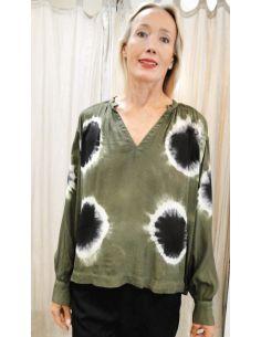 V De Vinster blouse oversize midi Tie&Die noir vert et blanc