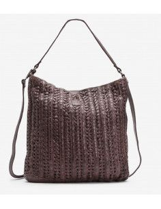 BIBA sac cuir vintage tréssé CLAIRE marron ou noir