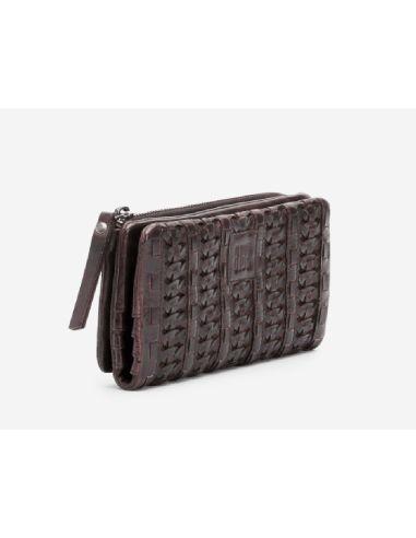 BIBA braided wallet kansas K1A4 black cognac red and green