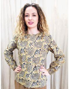 Laurence Bras shirt POPPY cotton yellow print