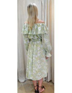 Laurence Bras Midi dress crayon green cotton loose