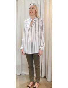 Laurence Bras Oversize loose shirt JUUL cotton beige stripes