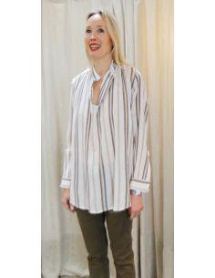 Laurence Bras Oversize loose shirt JUUL cotton beige stripes