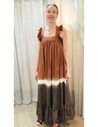 Laurence Bras robe longue FILLETTE Tie&Dye marron