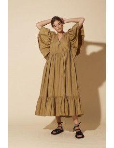 Laurence Bras Robe longue HIBISCUS tabac