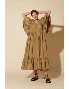 Laurence Bras Long dress HIBISCUS beige