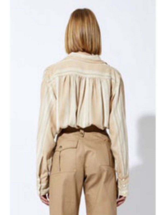 Laurence Bras Shirt POUILLE silk stripes ecru