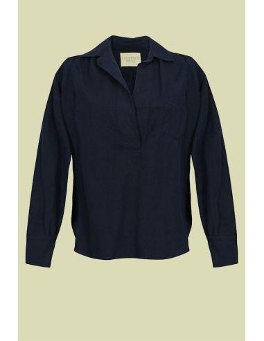 Laurence Bras shirt POUILLE blue cotton