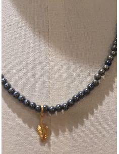 Mon Envie Collier pyrith&hématite feuille