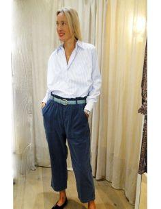 HOD YAEL pants Iceberg cotton velvet