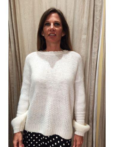 MysundayMorning pull laine et kid mohair blanc